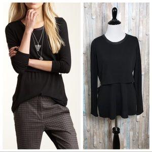 Donna Mizani XS Knit Leather Trim Sweater Top